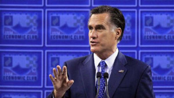 Former Mass. Gov. Mitt Romney speaks to the Detroit Economic Club Feb. 24, 2012. (AP Photo/Gerald Herbert)