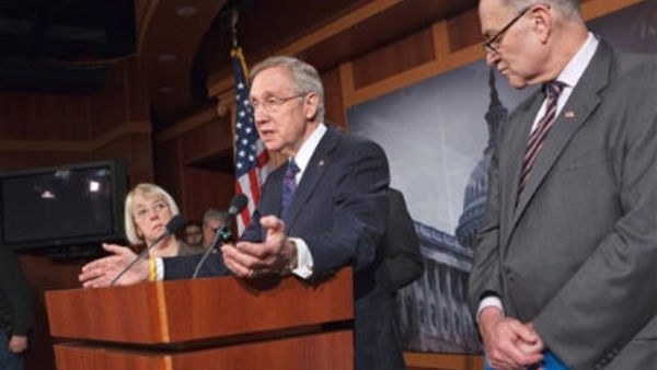Senate Majority Leader Harry Reid gestures during a news conference on Capitol Hill in Washington, Thursday, March 8, 2012, to discuss political roadblocks on passing the highway bill. (AP Photo/J. Scott Applewhite)