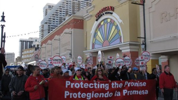 Union members protest outside the Tropicana Casino in Atlantic City, N.J. (AP Photo/Wayne Parry)