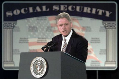 Former President Bill Clinton, in his own 1998 attempt at Social Security reform (AP Photo/Ron Edmonds)