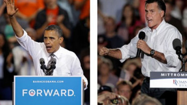 In these Sept. 26, 2012, file photo, President Barack Obama and Republican presidential candidate Mitt Romney both campaign in the battleground state of Ohio.