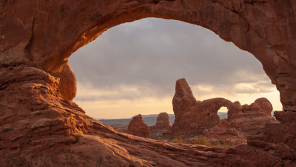 A gap in one of the many rock formations at Arches National Park in Utah.
