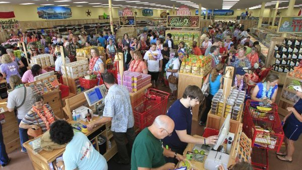 The scene inside a Trader Joe's.