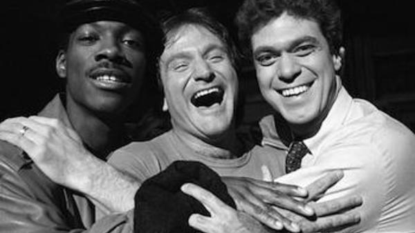 Robin Williams, center, with Saturday Night Live cast members Eddie Murphy, left, and Joe Piscopo, Feb. 10, 1984. (AP Photo/Suzanne Vlamis)