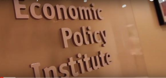 Economic Policy Institute sign (from video by EPI)