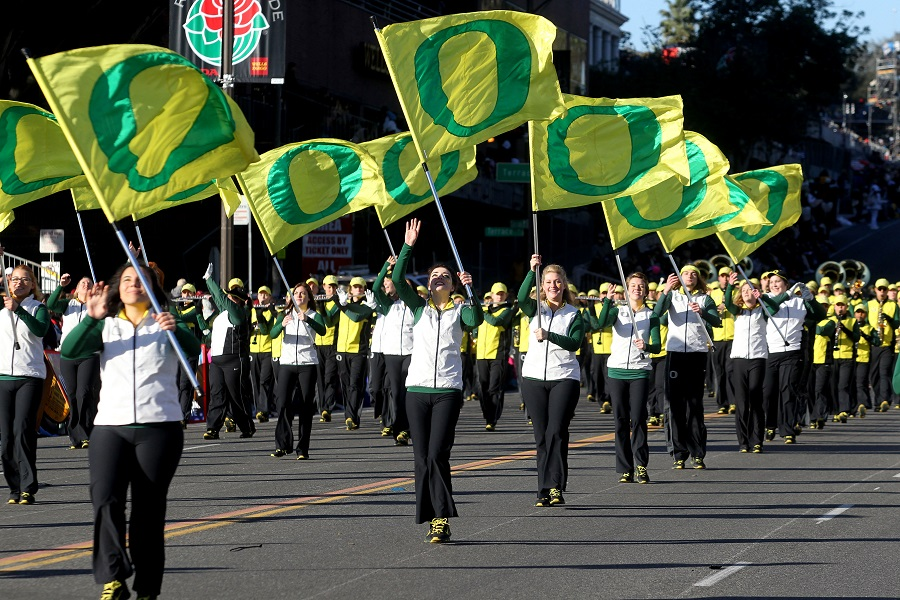 University of Oregon marching band at Rose Bowl parade (photo: AP) Go Ducks!