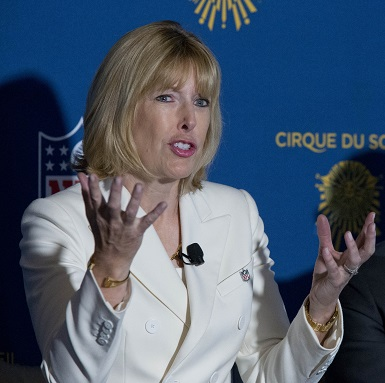 Dawn Hudson, CMO of the NFL, speaks at a news conference in 2016