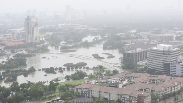 Hurricane Harvey presents not just survival challenges, but also some challenges for HR personnel.(Photo: Shutterstock, aerial view of Houston)