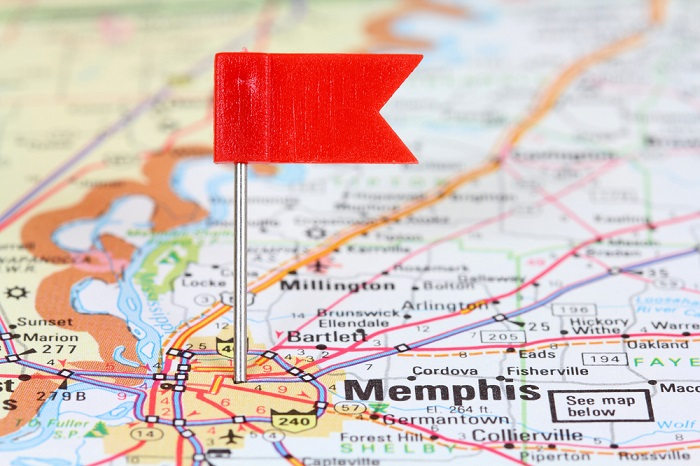 Memphis, Tennessee on a map (Photo: Shutterstock)