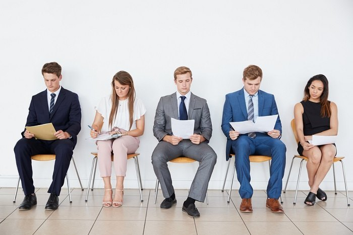 Young people about to interview for jobs.