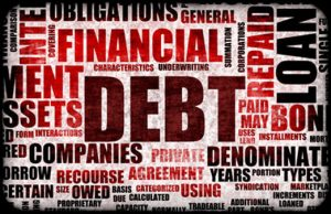 Word cloud of financial terms including debt