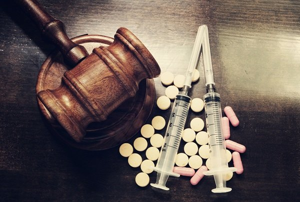 Gavel with drugs