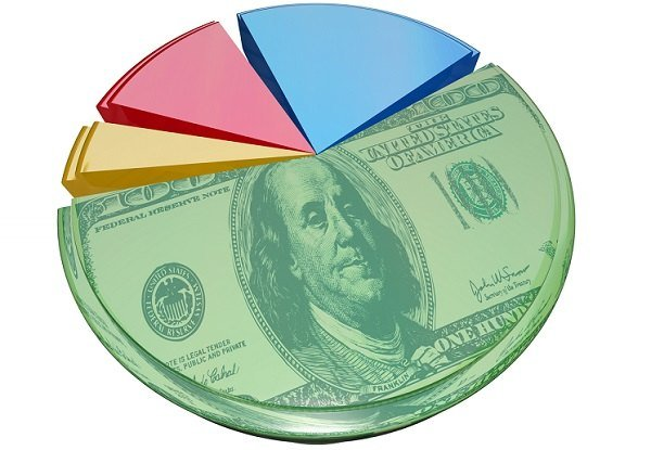Pie chart with dollar image