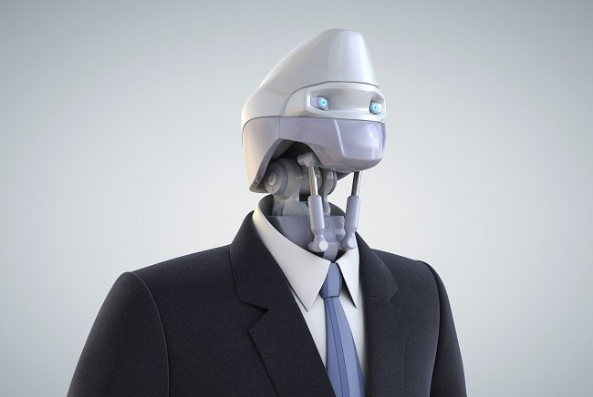 Robot head with business suit
