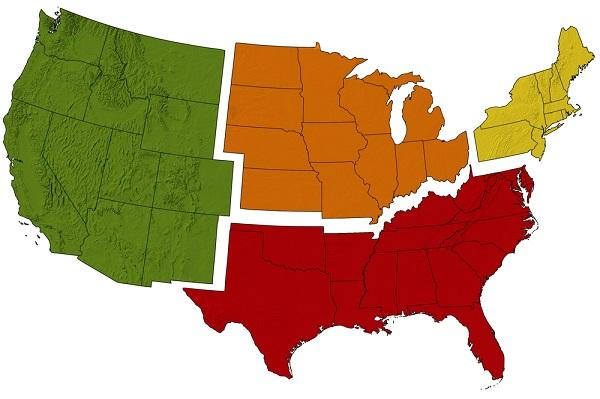 U.S. regional map