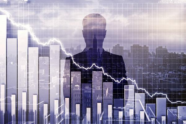 Graph of downward trending stock market