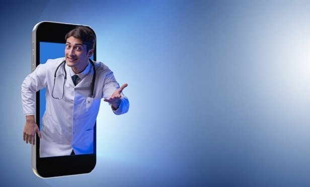 Doctor popping out of phone screen
