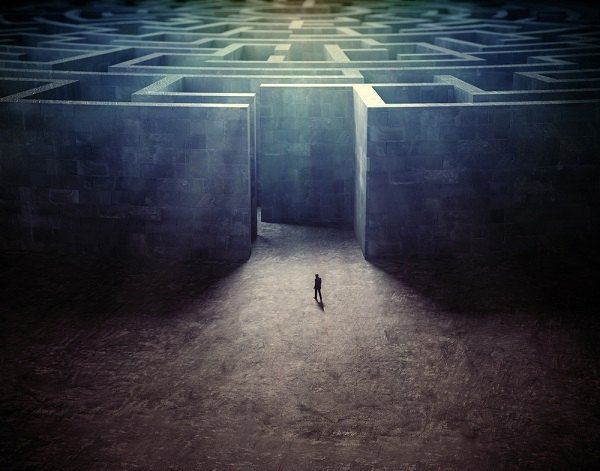 Man facing a maze