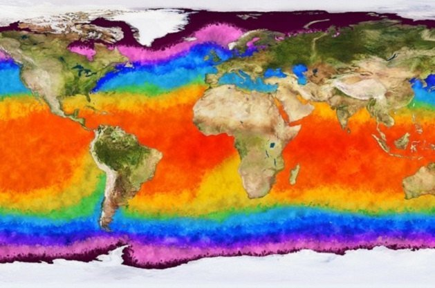 heat map of part of Earth
