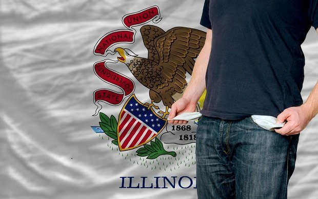 Illinois flag with man with emptied pockets