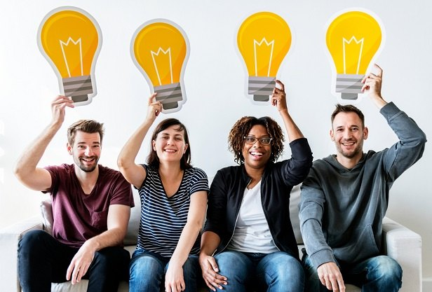 people holding lightbulb pictures