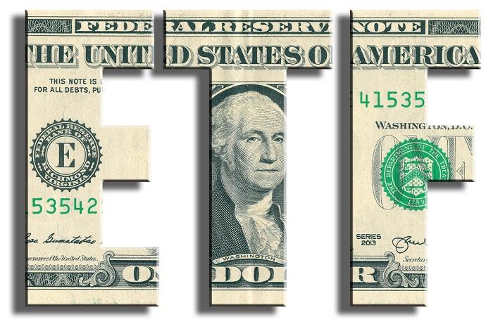 ETF initials in dollar bills