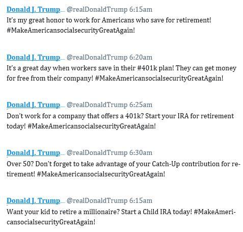 text of imagined Trump tweets