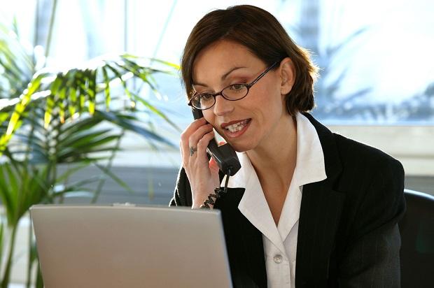 advisor or broker on telephone