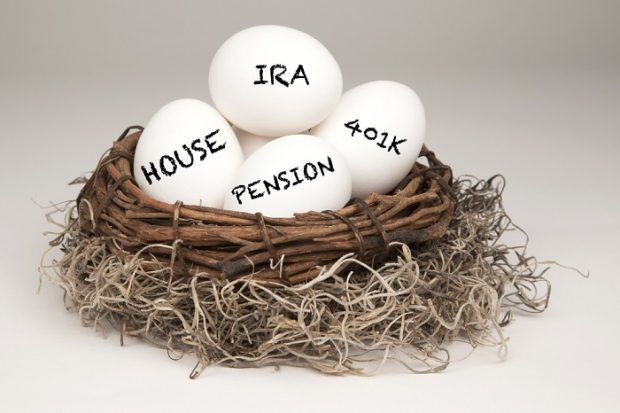 eggs with IRA, pension on them