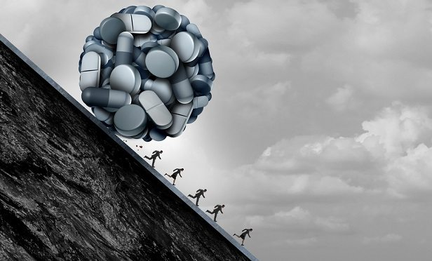 Opioid ball rolling down hill