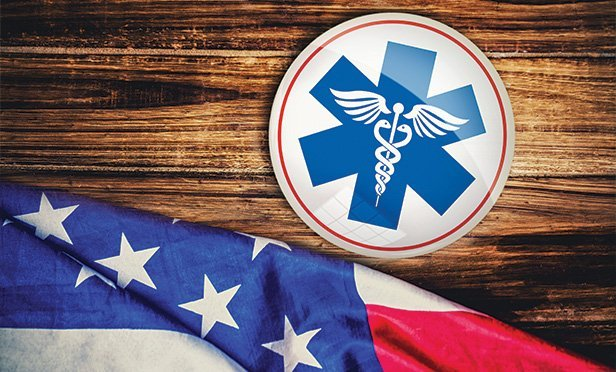 American flag and medical symbol