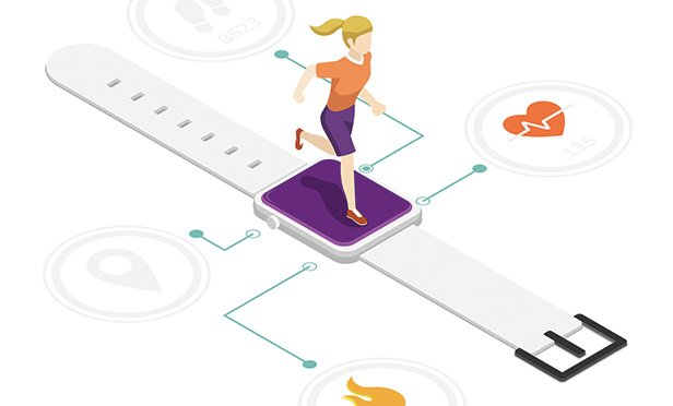 Woman on fitness tracker illustration