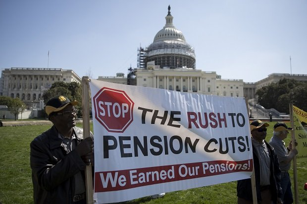 Teamsters protesting pension cuts in Washington D.C.