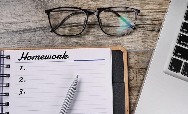 Notebook with Homework list