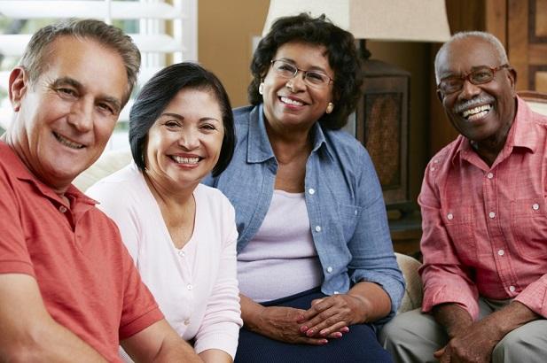 two happy retiree couples