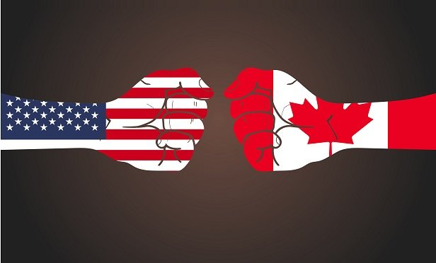 American and Canadian fists