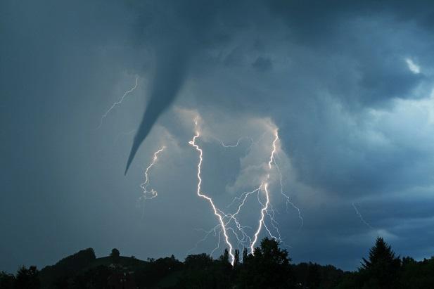 Lightning storm with tornado
