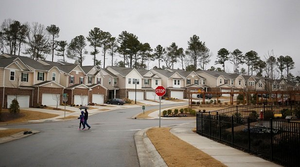 young people walking in new subdivision