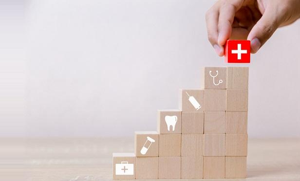 Blocks with health care symbols