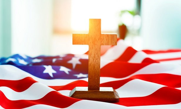 Cross on American flag