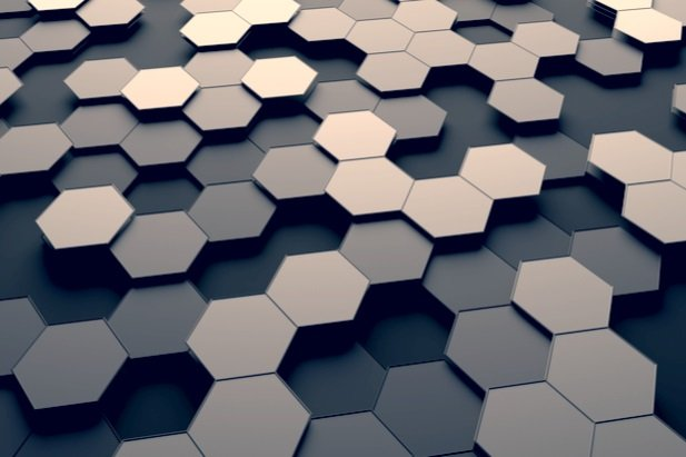 abstract collage of hexagon shapes