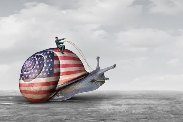 man riding a snail wearing a flag of the U.S.