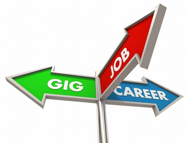 sign saying gig, job, work