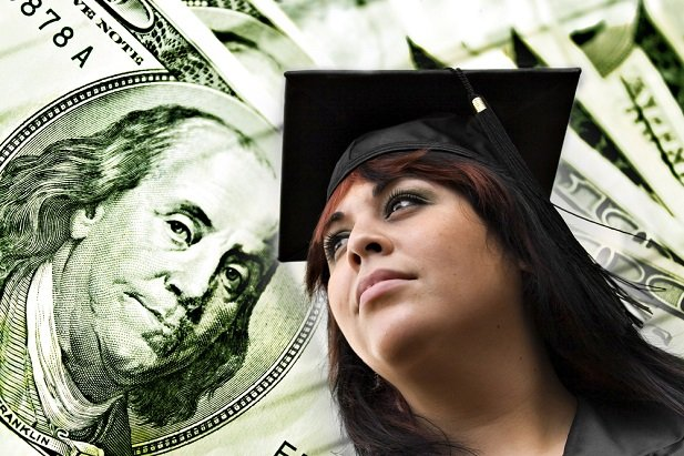 woman graduating and money