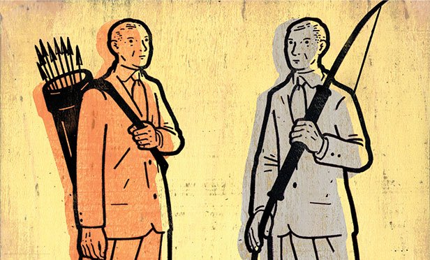 Businessmen with bows and arrows