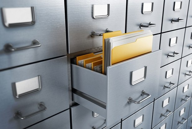 filing cabinets with file folder sticking out