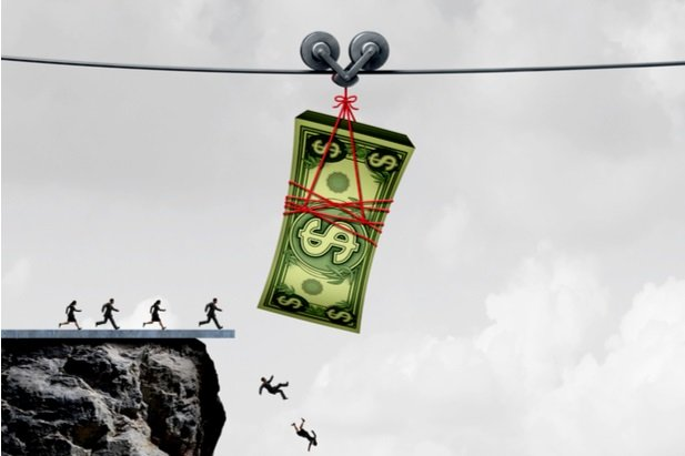 people chasing a dollar on pulleys and falling off cliff