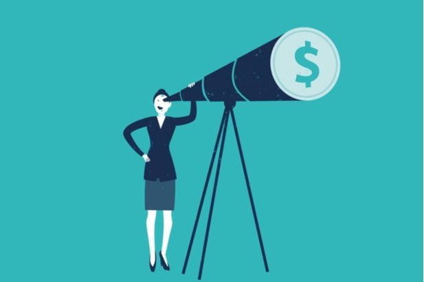 graphic of woman seeing dollar sign thru telescope