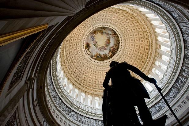 statue of George Washington in national capitol rotunda