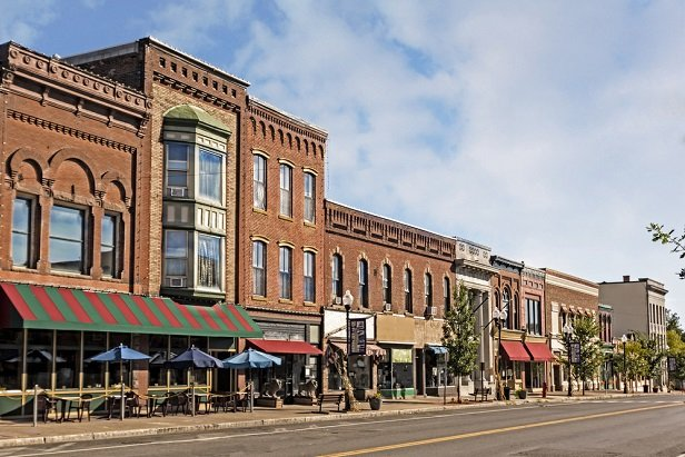 typical brick buildings on a main street